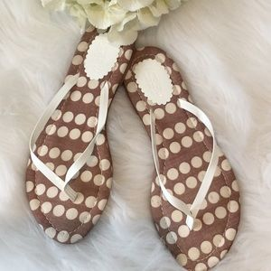 J.Crew Polka Dot Leather and Cloth Flip Flops